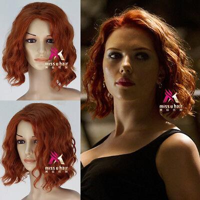 idow Natasha Romanoff Short Curly Synthetic Cosplay Wig (Avengers Black Widow)