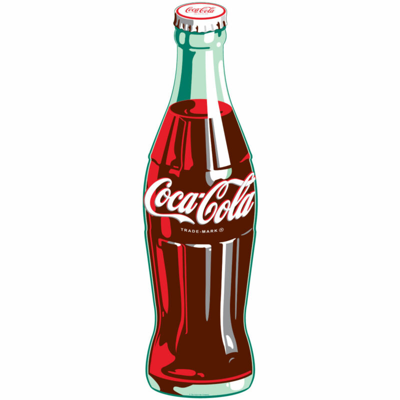 Coca-Cola Green Contour Bottle Wall Decal 7 x 24 Kitchen Decor Vintage Style