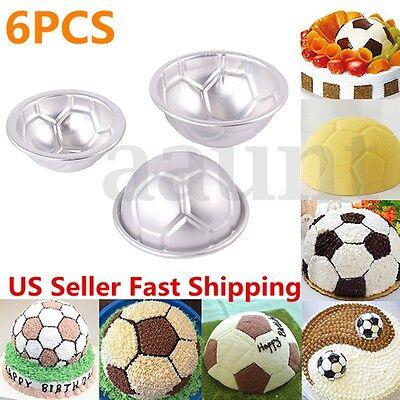 (6pcs Set Aluminum Metal Sphere Ball Football 3 Size DIY Cake Pan Bakeware Mold)
