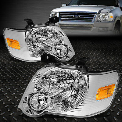 FOR 2006 2010 FORD EXPLORER PAIR CHROME HOUSING AMBER CORNER HEADLIGHTLAMP SET