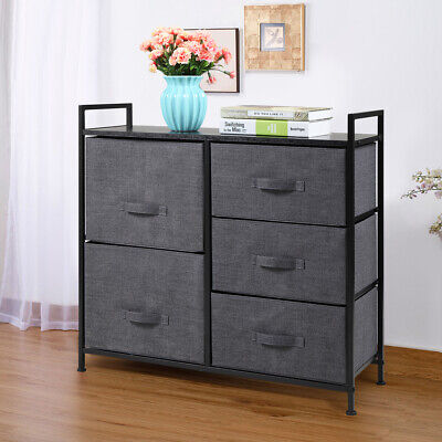 5 Drawers Dresser Bedside with Non-woven Fabric Bins Furniture Storage Tower