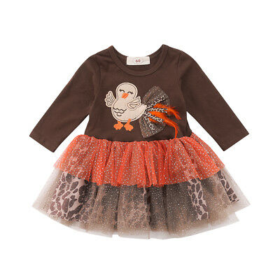 Newborn Baby Girls Thanksgiving Outfit Dress Toddler Long Sleeve Chick Clothes](Infant Thanksgiving Outfit)