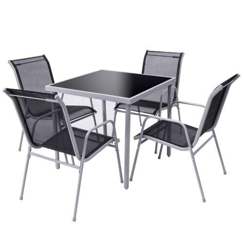 5Pcs/Set Patio Yard Lawn Bistro Garden 4 Chairs+Table Arm Se