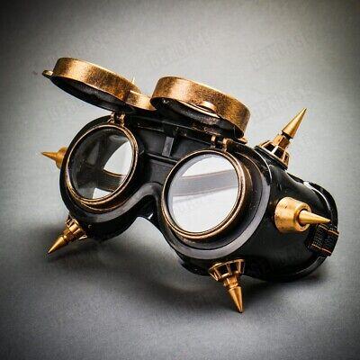 Costume Eye Mask (Flip Up Glasses Steampunk Goggles Eye Mask Costume Halloween Cosplay Black)