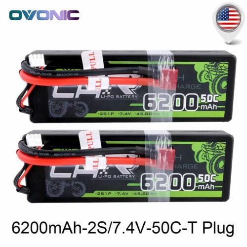 2X OVONIC 6200mAh 2S 7.4V 50C Lipo Battery Pack Deans for Tr