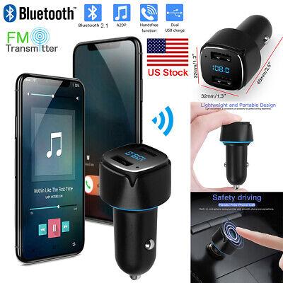 Digital Dual USB LED Car Charger Bluetooth FM Transmitter Handsfree Music Player Digital Fm Transmitter Charger