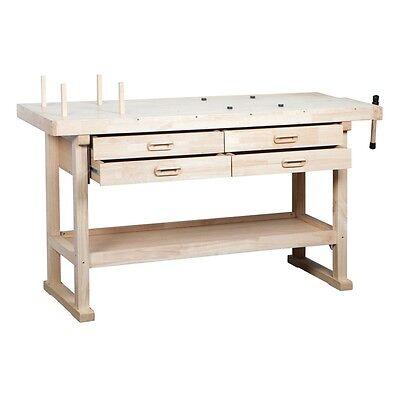"60"" Hardwood Work Bench 4 Drawers/Vise/Storage Shelf Great For Shop or Garage"