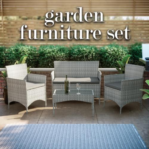 Garden Furniture - Rattan Garden Furniture Set 4 Piece Seat Chairs Table Bench Patio Outdoor Grey