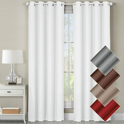 Cotton Modern Curtain - Luxor Top Grommet Panels Heavyweight 100% Cotton Window Treatment Curtains Solid