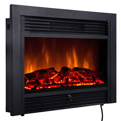 """SALE 28.5"""" Fireplace Electric Embedded Insert Heater Glass Log Flame Remote Home"""