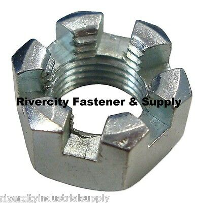 1 78-9 Slotted Hex Castle Nut Zinc Plated 78x9 Coarse Thread Lock Nut