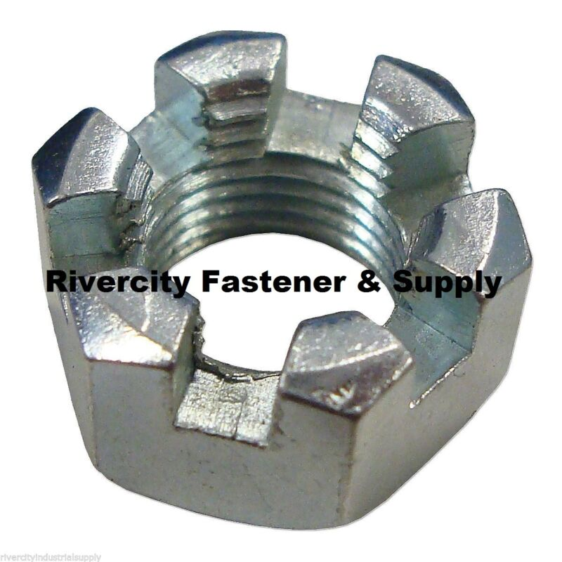 (1) 7/8-14 Slotted Hex Castle Nut Zinc Plated 7/8x14 Fine Thread Lock Nut