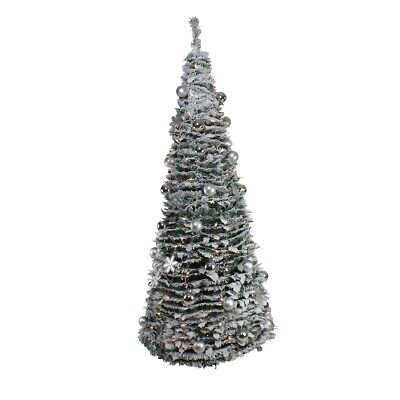 Northlight 33914021 6 ft. Pre-Lit Silver Tinsel Pop Up Artificial Christmas Tree