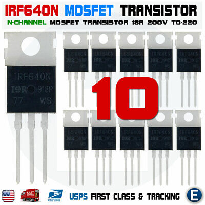 10pcs Irf640 Irf640n Ir Power Mosfet N-channel 18a 200v Transistor To-220 Usa