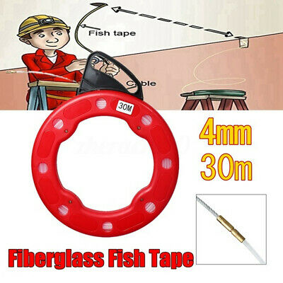 100ft Fish Tape Reel Wire Pulling Tools 30m Electrical Cable Puller New