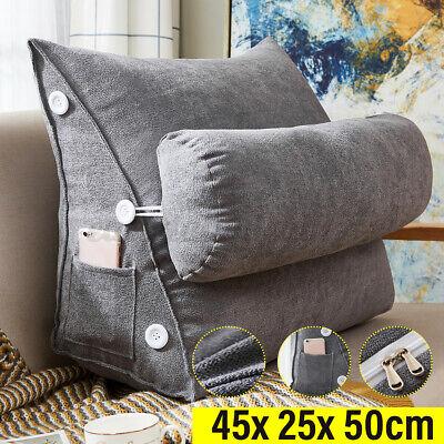 Ergonomisches Rückenkissen mit Nackenrolle Keilkissen Kissen für Bett Sofa 45cm