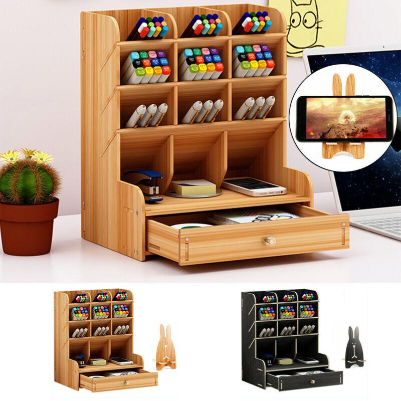 Top Desk Organizer DIY Wooden Pen Holder Box Storage Rack w/ Phone Holder Drawer