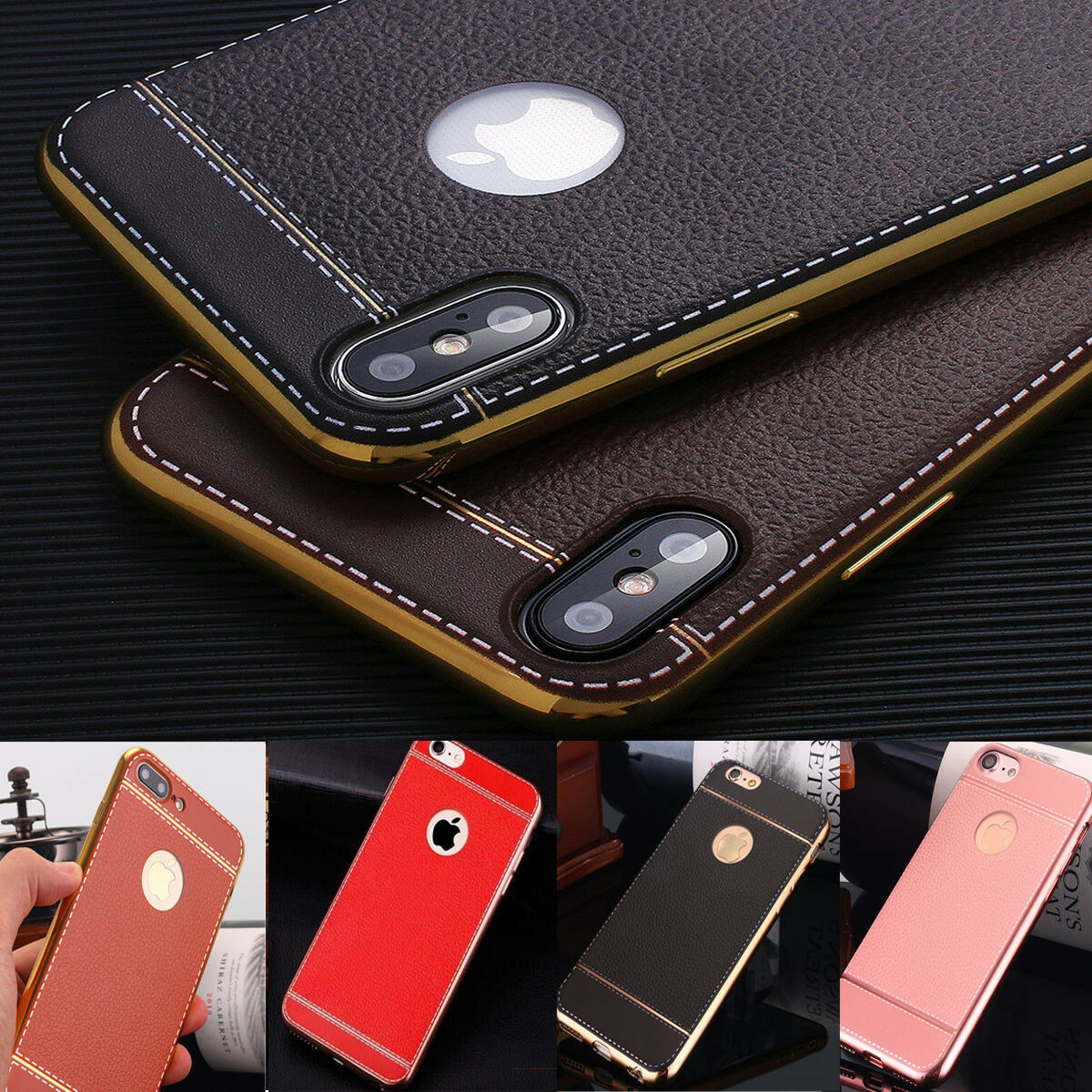 $4.59 - Luxury Ultra-Thin Slim PU Leather Soft Phone Case Cover for iPhone X 6s 7 8 Plus