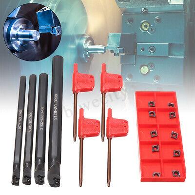 4 Set 7 8 10 12mm Lathe Turning Tool Holder Boring Bar 10 Ccmt 060204 Inserts
