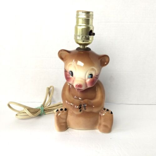 Vintage Tot Line Bear Lamp Light Baby Nursery Totline Made in USA Teddy
