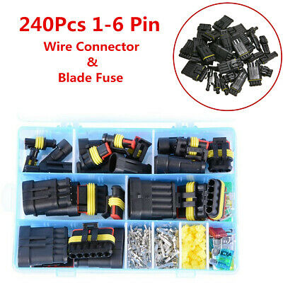 Car 1-6 Pin Dust Waterproof Electrical Terminal Wire Connector Plug Fuses Suit
