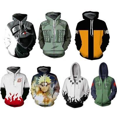 Naruto Costums (Naruto0 Hokage Ninjia Hoodie Cosplay Costume Hooded Jacket Pullover)