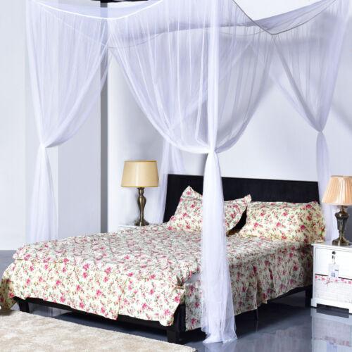4 corner post white bed canopy mosquito