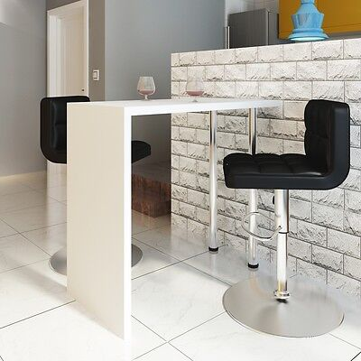 Home Dining Bar Table Coffee Bar Table Side Table Counter 2 Steel Legs White