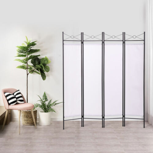 4 Panel Folding Room Divider Screen Fabric Partition Home Office Privacy Frame