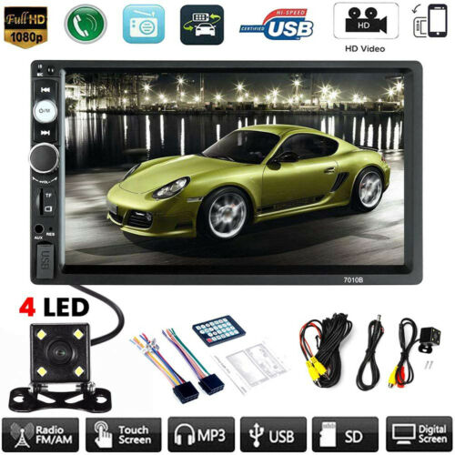Car MP5 Player 7″ Double 2DIN Bluetooth Touch Screen Stereo Radio USB AUX Camera Car Audio