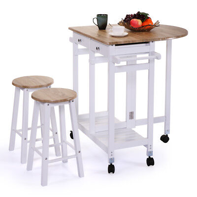 Rolling Kitchen Island Trolley Cart Drop Leaf Table w/ 2 Stools Home Breakfast