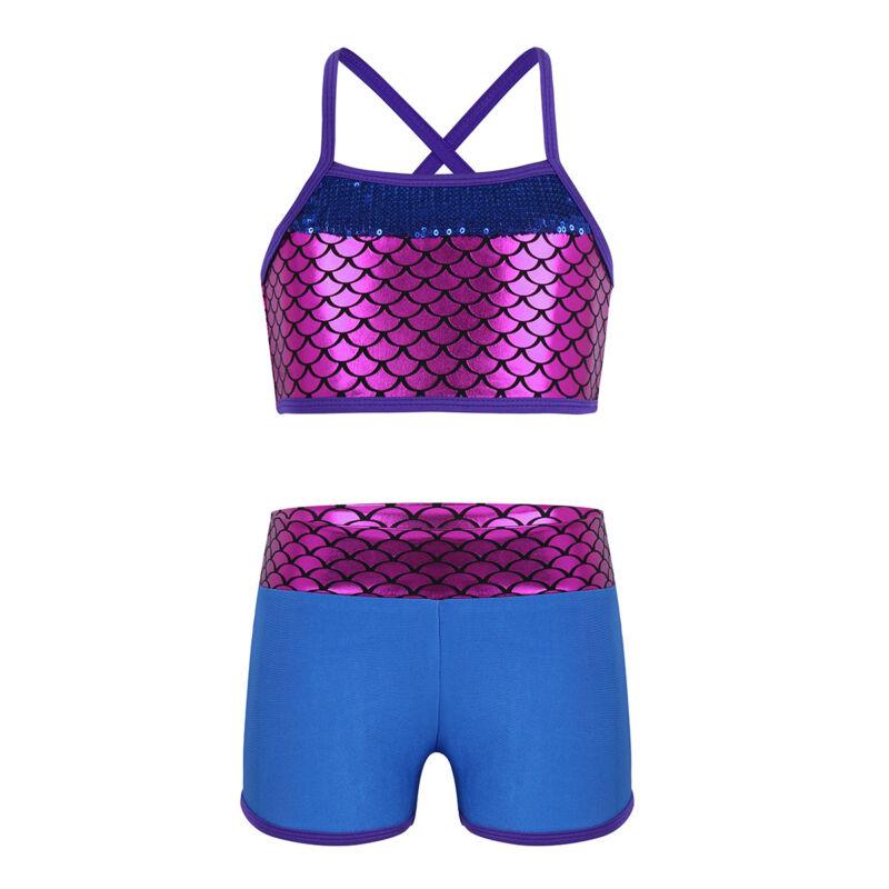 QinCiao Girls Kids Tie-Dye Sports Dance Outfits Tank Top Bras with Booty Shorts Gymnastic Balllet Unitard Sportswear