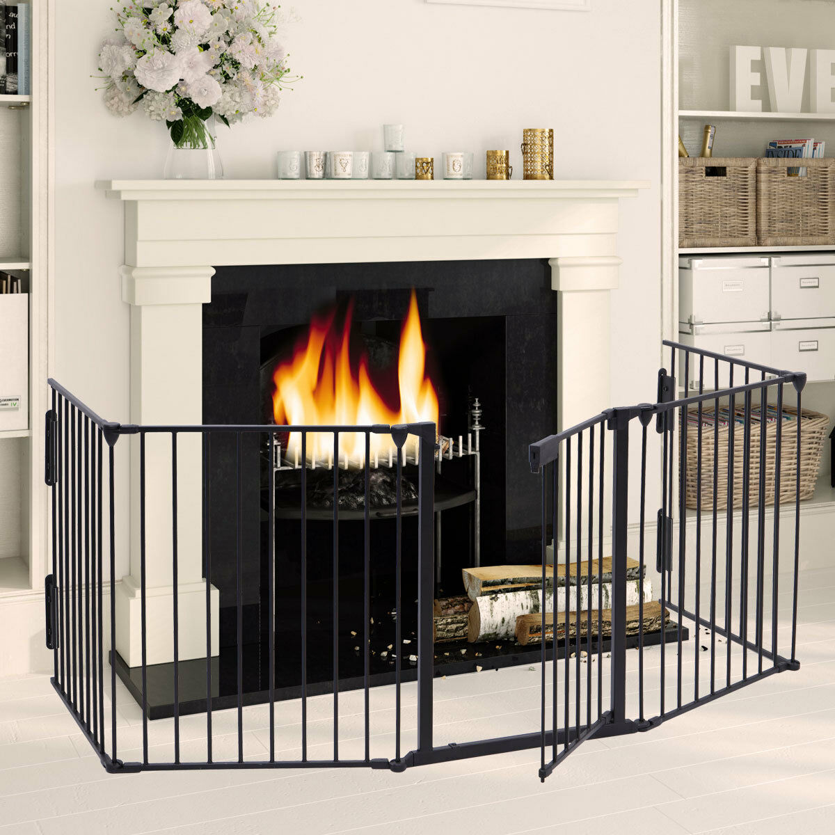 Fireplace Fence Baby Safety Fence Hearth Gate Pet Cat Dog BBQ Metal Fire Gate