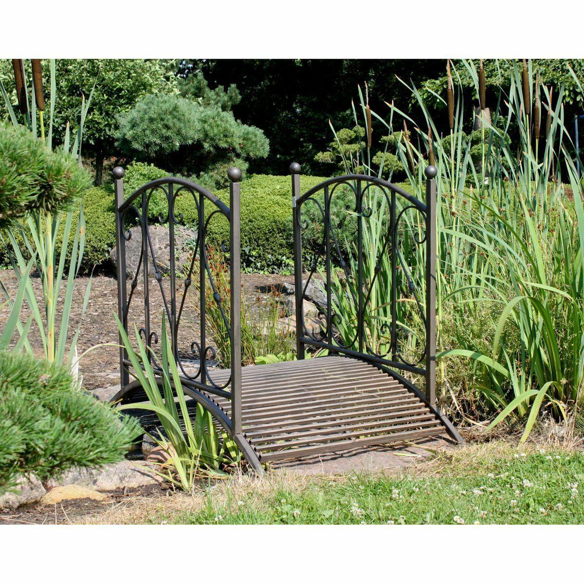 Gartenbrücke 120 cm Metall Brücke Garten Teichbrücke Zierbrücke Dekobrücke Teich