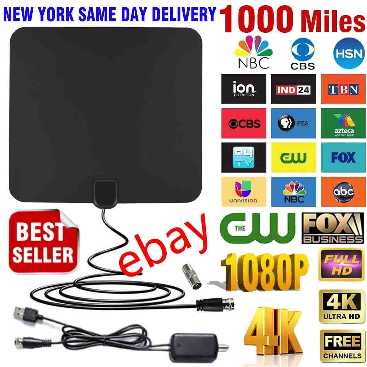 1000 miles TV Antenna Indoor Outdoor HDTV Free HD Digital Ch