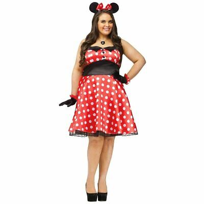 Minnie Mouse Costume Womens PLUS Size Retro Red Dress Outfit