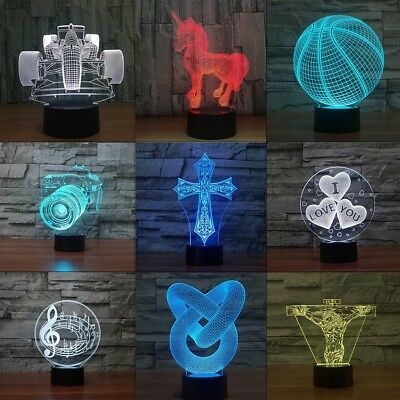 3D Illusion Decor Night Light 7 Colors USB LED Table Desk Lamp Gift Touch Switch - Decorate Desk