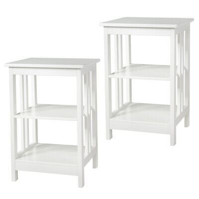 Set of 2 3-Layer Side Table Nightstand End Table W/ Baffles & Round Corner White Round Set Side Table