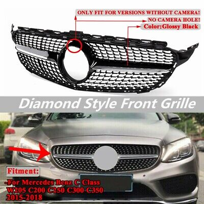 Front Diamond Center Grill Grille For Benz W205 C Class C250 C300 C400 2015-2018