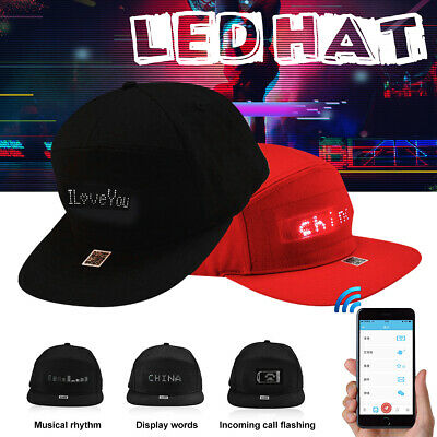 Hat Usb (LED Display Cap Cool Hat Screen Light Wireless bluetooth APP Control USB Fashion)