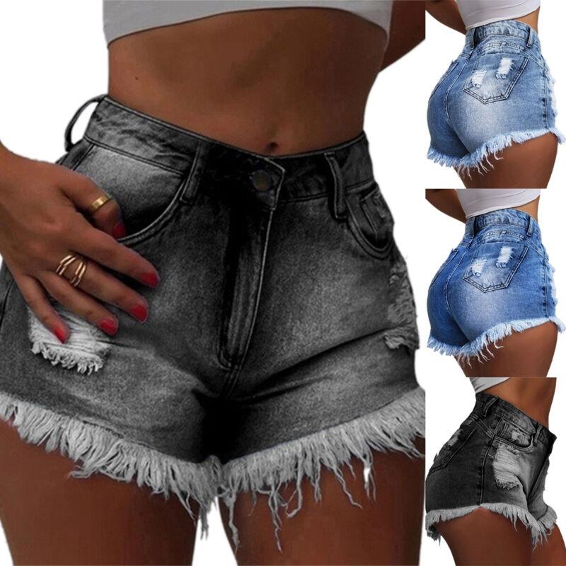 womens high waist hot pants ripped tassel
