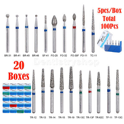 100pcs Azdent Dental Diamond Burs F High Speed Handpiece 20 Types Usps