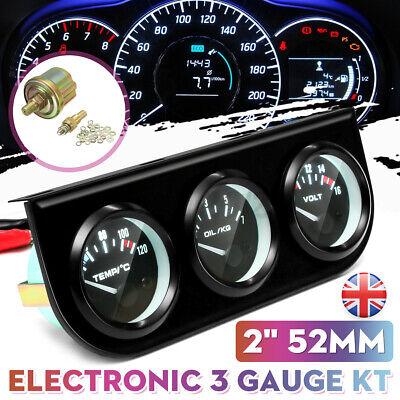 52mm 3 in 1 Car Voltmeter Water Thermometer Oil Pressure Electrical Gauge Meter