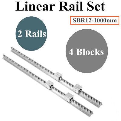 2x Sbr12 1000mm Linear Rail Slide Guide Fully Supported 4x Sbr12uu Blocks Cnc
