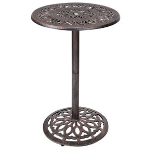 Merveilleux Cast Aluminum Round Bar Table Bar Height Outdoor Patio Pub Bistro Furniture  New
