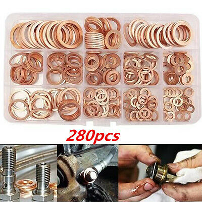 280Pcs Assortment Copper Washers Sump Plug Set Kit with Plastic Box Kit 12 Sizes