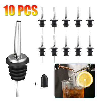 10 Pcs Stainless Steel Liquor Spirit Pourer Flow Wine Bottle Pour Spout Stopper