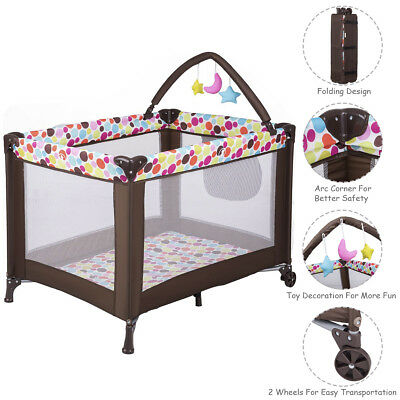 Playard Baby Crib Bassinet Travel Portable Bed Playpen Infant Toddler Foldable