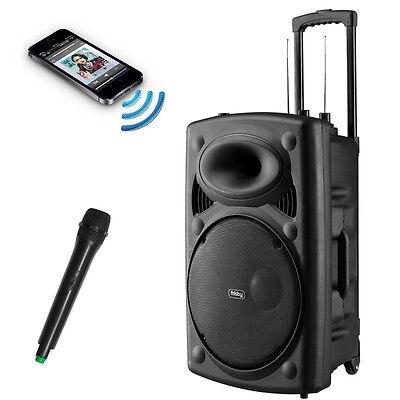 Frisby Portable Rechargeable Karaoke PA Speaker w/ Wireless MIC & FM USB/SD NEW