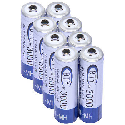8x AA 3000mAh 1.2 V Ni-MH rechargeable battery BTY cell for MP3 RC Toys Camera